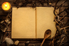 Witchcraft or magic recipes book with alchemy ingredients around. Old blank open witchcraft or magic recipes book with candle and alchemy ingredients around Stock Images