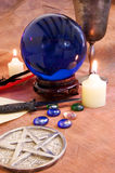 Witchcraft Objects 4. Witchcraft and Wicca objects on a rustic brown background Stock Photography
