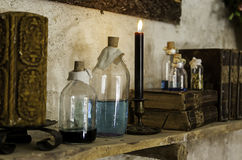 Objects of witchcraft to make magic. Witchcraft objects to do magic, detail of belief and mystery, fear Stock Photography