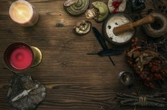 Witch doctor. Shaman. Witchcraft. Magic table. Alternative medicine. Witchcraft. Witch doctor desk table. Magic potion. ALternative medicine concept Stock Photos