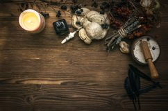 Witch doctor. Shaman. Witchcraft. Magic table. Alternative medicine. Witchcraft. Witch doctor desk table. Magic potion. ALternative medicine concept Royalty Free Stock Photos
