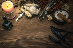 Witch doctor. Shaman. Witchcraft. Magic table. Alternative medicine. Witchcraft. Witch doctor desk table. Magic potion. ALternative medicine concept Royalty Free Stock Images