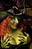 Witchery magician. Close-up portrait of a fairy wicked witch in the wizarding lair. Magic. Halloween Stock Photography