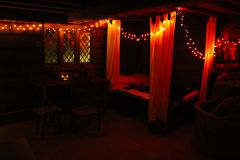 A Witches Bed Chamber. A witches puritan, Halloween bed chamber in a cabin in Salem in October Royalty Free Stock Image