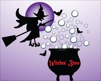 Witches brew. Witch on her broom (one piece) flying over her bubbling brew royalty free illustration