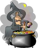 Witches Brew. This illustration that I created depicts a witch in traditional Halloween attire cooking up a brew in her big cauldron vector illustration