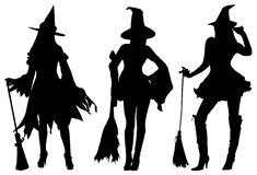 Witches with brooms. Royalty Free Stock Image