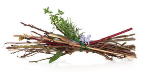 Witches Bundle. Of herbs, twigs and rosemary herb flowers tied in a bundle on white background royalty free stock photography