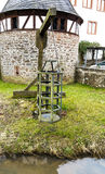 Witches cage - Medieval torture instrument at the river in Steinau an der Strasse, close to the birthplace Brothers Grimm, Germany Stock Photos