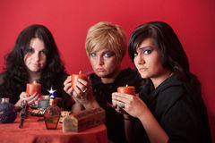 Witches With Candles Stock Images