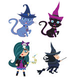 Witches and cats - set Stock Images