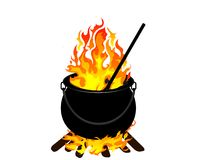 Witches cauldron. With flames -  illustration Royalty Free Stock Image