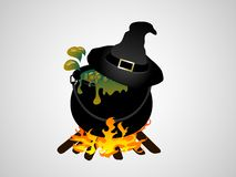 Witches cauldron. With flames - vector illustration Stock Images