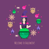 Witches cauldron halloween composition Stock Images