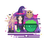 Witches cauldron halloween composition. Halloween poster with witch, owl, cauldron, magic potions, candles and spider web Royalty Free Stock Image