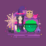 Witches cauldron halloween composition Royalty Free Stock Photo