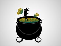 Witches cauldron. With her hand inside - vector illustration Royalty Free Stock Images