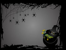 Witches cauldron. With her hat - Halloween card Stock Image
