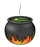 Witches Cauldron. Illustration of a cartoon witches' cauldron brewing over a fire Royalty Free Stock Photo