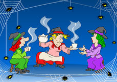 Witches celebrate a halloween party with magic potion Stock Photography