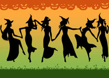 Witches dance. Silhouettes of dancing witches. Illustration Stock Photo