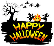 Witches dancing around the fire at halloween. Vector illustration of witches dancing around the fire at halloween Royalty Free Stock Images