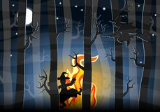 Witches dancing around a fire at night. Vector illustration of witches dancing around a fire at night in the forest Stock Photos