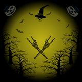 Witches flying on broomstick, bats, castle on hill, eerie night. Hell Halloween party pattern. Skull in witch hat, skeleton hands in rock and roll gesture, bats vector illustration
