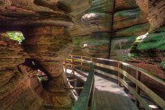 Witches Gulch is a hidden Attraction in Wisconsin Dells and can. Only be reached by Boat royalty free stock image