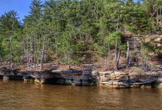 Witches Gulch is a hidden Attraction in Wisconsin Dells and can. Only be reached by Boat Stock Photos