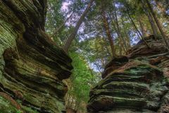 Witches Gulch is a hidden Attraction in Wisconsin Dells and can. Only be reached by Boat royalty free stock photo