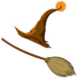 Witches hat and broom Stock Image