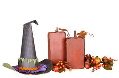Witches hat and decorative pumpkins isolated Royalty Free Stock Images