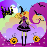 Witches party. Cartoon witch with colorful magical background Royalty Free Stock Photo