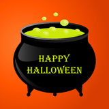 Witches pot for halloween with green  potion. Witches pot for halloween with green potion. Vector illustration Stock Photos