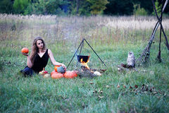 Witches sabbath in the meadow Royalty Free Stock Photo