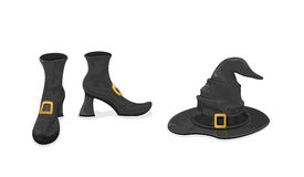 Witches shoes and hat for Halloween Stock Photos