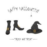 Witches shoes and hat with spiders for Halloween Stock Photography