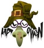 Witchs帽子、绿色鼻子和玻璃辅助在万圣夜集会 免版税库存照片