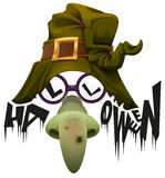 Witchs hat, green nose and glasses accessory for Halloween party Royalty Free Stock Photos