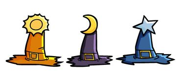 3 Witchs hats. Funny & scary three witch hats with different colors and accessories Stock Photo