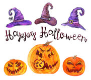 Witchshoeden en pompoenen Gelukkig Halloween Stock Foto's