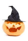 Witchy pumpkin. Carved pumpkin in a funny witch hat Stock Photo