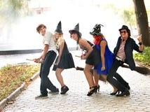 witck людей шлема группы broomstick Стоковое фото RF