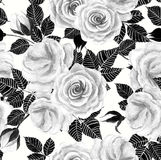 Wite roses watercolor seamless pattern Stock Photo