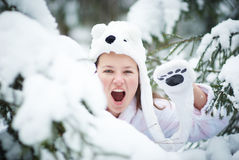 Wite teddy bear shout in winter forest Stock Image