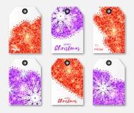 Świąteczna kolekcja czerwonej purpury błyskotliwości tekstury płatka śniegu Bożenarodzeniowe etykietki Zdjęcia Stock