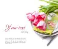 Świąteczny wiosna stołu położenie, przygotowywający szablon Zdjęcia Stock