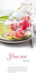 Świąteczny wiosna stołu położenie, przygotowywający szablon Obraz Stock