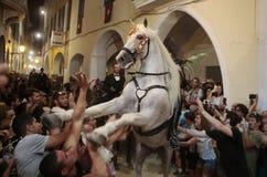 Świętego John koni lajkonik w Minorca Zdjęcie Royalty Free